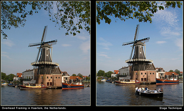 Netherlands, Haarlem.  Stage Technique.<br /> The left photo can stand on its own as a landscape and it's enhanced by the overhead framing of the tree branch. Here, the Spaarne River acts as a horizontal frame, since it's rather uninteresting.<br /> In the left photo, I enlarged the water to be a stage for passing boats. Its diagonal line lets you see more of the boat than head on. The stage technique lets you refine your composition because your subjects keep coming by.