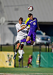 5 October 2019: University at Albany Great Dane Forward Austin DaSilva, a Sophomore from Brookfield, CT, goes up for a header against University of Vermont Catamounts Defender Arnar Steinn Hansson, a Senior from Garðabær, Iceland, at Virtue Field in Burlington, Vermont. The Catamounts fell to the visiting Danes 3-1 in America East, Division 1 play. Mandatory Credit: Ed Wolfstein Photo *** RAW (NEF) Image File Available ***