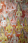 Buddha images in roof mural, Dambulla cave Buddhist temple complex, Sri Lanka, Asia