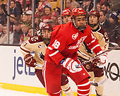 Matthew Gaudreau (BC - 21), Jordan Greenway (BU - 18), Bobo Carpenter (BU - 14), Michael Kim (BC - 4) - The Boston University Terriers defeated the Boston College Eagles 3-1 in their opening Beanpot game on Monday, February 6, 2017, at TD Garden in Boston, Massachusetts.