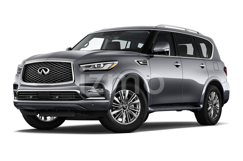 Stock pictures of low aggressive front three quarter view of a 2018 Infiniti QX80 Base 5 Door SUV