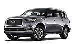 Stock pictures of low aggressive front three quarter view of a 2019 Infiniti QX80 Base 5 Door SUV