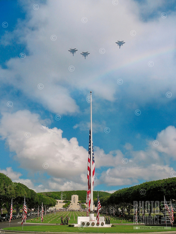 A Memorial Day jet fly-over at the National Memorial Cemetery of the Pacific, Honolulu, O'ahu.