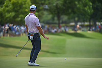 Jon Rahm (ESP) watches his putt on 18 during round 3 of the Fort Worth Invitational, The Colonial, at Fort Worth, Texas, USA. 5/26/2018.<br /> Picture: Golffile | Ken Murray<br /> <br /> All photo usage must carry mandatory copyright credit (&copy; Golffile | Ken Murray)
