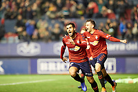 Fran Mérida (midfield; CA Osasuna) and Juan Villar (forward; CA Osasuna) celebrates the goal during the Spanish football of La Liga 123, match between CA Osasuna and Málaga CF at the Sadar stadium, in Pamplona (Navarra), Spain, on Saturday, November 3, 2018.