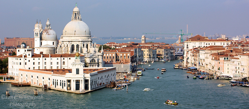 Panoramic view from a cruise ship of the southern Venice waters east of San Marco Square