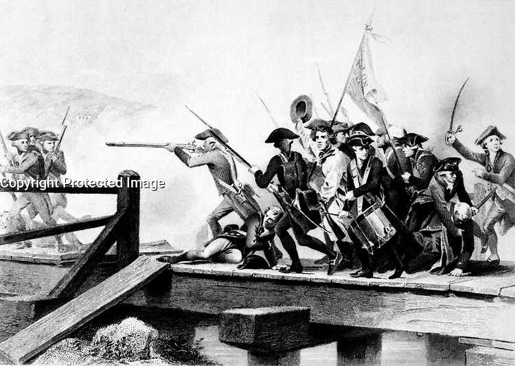 The Struggle at Concord Bridge.  April 1775. Copy of engraving by W. J. Edwards after Alonzo Chappel, ca.  1859. (Marine Corps)<br />Exact Date Shot Unknown<br />NARA FILE #:  127-N-521360<br />WAR &amp; CONFLICT #:  11