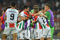 MEDELLIN - COLOMBIA, 12-02-2019: Jugadores de Palestino celebran la victoria después del partido entre Independiente Medellin de Colombia y Palestino de Chile por la segunda fase, llave 4, de la Copa CONMEBOL Libertadores 2019 jugado en el estadio Atanasio Girardot de la ciudad de Medellín. / Players of Palestino celebrate the victory after the match between Independiente Medellin of Colombia and Palestino of Chile for the second phase, Key 4, of the Copa CONMEBOL Libertadores 2019 played at Atanasio Girardot stadium in Medellin city. Photo: VizzorImage / Leon Monsalve / Cont