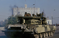 Moscow, Russia, 04/10/1993..Pro-Government tanks bombard the Russian Parliament on the orders of the Russian president. When President Boris Yeltsin dissolved the opposition-dominated Russian Parliament,  deputies and supporters, led by Vice President Alexander Rutskoi, barricaded themselves inside the White House. After a 10 day stand-off the situation exploded into violence between pro and anti Yeltsin forces.