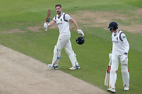 Matthew Lamb of Warwickshire acknowledges the crowd after reaching his century during Warwickshire CCC vs Essex CCC, Specsavers County Championship Division 1 Cricket at Edgbaston Stadium on 11th September 2019