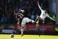 Burnley's Stephen Ward and Manchester United's Henrikh Mkhitaryan<br /> <br /> Photographer Stephen White/CameraSport<br /> <br /> The Premier League - Burnley v Manchester United - Sunday 23rd April 2017 - Turf Moor - Burnley<br /> <br /> World Copyright &copy; 2017 CameraSport. All rights reserved. 43 Linden Ave. Countesthorpe. Leicester. England. LE8 5PG - Tel: +44 (0) 116 277 4147 - admin@camerasport.com - www.camerasport.com