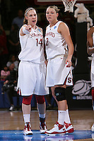STANFORD, CA - MARCH 22:  Kayla Pedersen and Jayne Appel of the Stanford Cardinal during Stanford's 96-67 win over Iowa in the second round of the NCAA Women's Basketball Tournament at Maples Pavilion in Stanford, California.