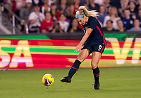 5th March 2020, Orlando, Florida, USA;  the United States midfielder Julie Ertz (8) blasts the ball on goal during the Women's SheBelieves Cup soccer match between the USA and England on March 5, 2020 at Exploria Stadium in Orlando, FL.