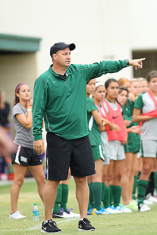 Denton, TX - SEPTEMBER 16: Head coach John Hudlund of the North Texas Mean Green soccer reacts during the game against the Texas Christian University Horned Frogs at the Mean Green Village Soccer Field University in Denton on September 16, 2012 in Denton, Texas. (Photo by Rick Yeatts)