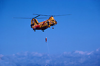 Boeing Vertol CH-113 Labrador Search and Rescue (SAR) Helicopter showing Rescue Demonstration - at Abbotsford International Airshow, BC, British Columbia, Canada