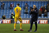 Preston North End Manager, Alex Neil applauds the away fans as Jordan Hugill heads to the dressing room during Millwall vs Preston North End, Sky Bet EFL Championship Football at The Den on 13th January 2018