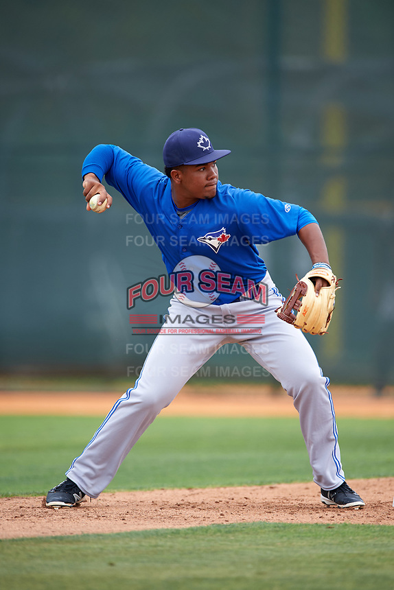 Toronto Blue Jays Bryan Lizardo (6) during practice before a minor league Spring Training game against the Pittsburgh Pirates on March 24, 2016 at Pirate City in Bradenton, Florida.  (Mike Janes/Four Seam Images)