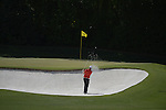 AUGUSTA, GA - APRIL 13: Marc Leishman of Australia hits out of the bunker during the Third Round of the 2013 Masters Golf Tournament at Augusta National Golf Club on April 13, 2013 in Augusta, Georgia. (Photo by Donald Miralle) *** Local Caption ***