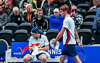 Alphen aan den Rijn, Netherlands, December 15, 2018, Tennispark Nieuwe Sloot, Ned. Loterij NK Tennis,  Semifinal men: Scott Griekspoor (NED) passing by his brother Tallon during changeover<br /> Photo: Tennisimages/Henk Koster