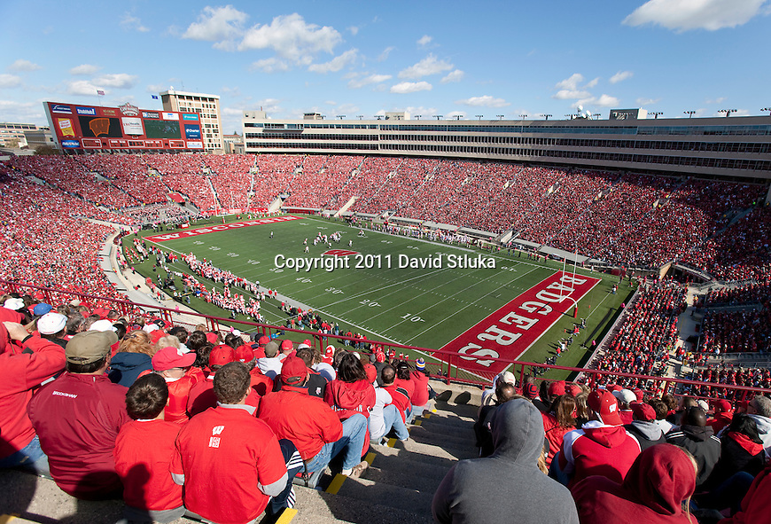 A general view of Camp Randall Stadium during the Wisconsin Badgers NCAA Big Ten Conference college football game against the Indiana Hoosiers on October 15, 2011 in Madison, Wisconsin. The Badgers won 59-7. (Photo by David Stluka)