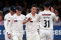 Matthew Fisher celebrates taking the wicket of Rishi Patel during Essex CCC vs Yorkshire CCC, Specsavers County Championship Division 1 Cricket at The Cloudfm County Ground on 8th July 2019