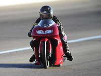 Oct. 26, 2012; Las Vegas, NV, USA: NHRA pro stock motorcycle rider Charles Sullivan during qualifying for the Big O Tires Nationals at The Strip in Las Vegas. Mandatory Credit: Mark J. Rebilas-
