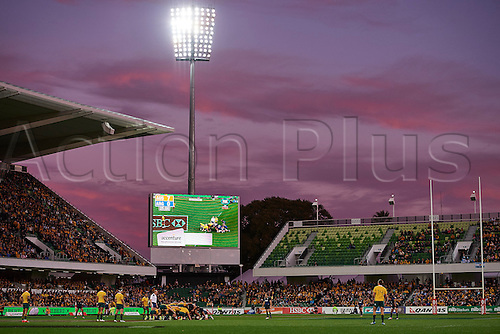 17.09.2016. Perth, Australia.  The teams settle for a scrum as the sun sets during the Rugby Championship test match between the Australian Qantas Wallabies and Argentina's Los Pumas from NIB Stadium - Saturday 17th September 2016 in Perth, Australia.