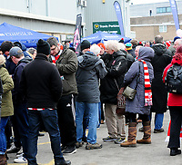Lincoln City fans enjoy the pre-match atmosphere<br /> <br /> Photographer Andrew Vaughan/CameraSport<br /> <br /> The EFL Sky Bet League Two - Lincoln City v Grimsby Town - Saturday 19 January 2019 - Sincil Bank - Lincoln<br /> <br /> World Copyright © 2019 CameraSport. All rights reserved. 43 Linden Ave. Countesthorpe. Leicester. England. LE8 5PG - Tel: +44 (0) 116 277 4147 - admin@camerasport.com - www.camerasport.com