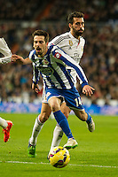 Real Madrid´s Alvaro Arbeloa and Deportivo de la Coruna's Isaac Cuenca during 2014-15 La Liga match between Real Madrid and Deportivo de la Coruna at Santiago Bernabeu stadium in Madrid, Spain. February 14, 2015. (ALTERPHOTOS/Luis Fernandez) /NORTEphoto.com