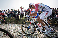 Dutch national champion Mathieu Van der Poel (NED/Corendon Circus) up the Koppenberg cobbles<br /> <br /> 103rd Ronde van Vlaanderen 2019<br /> One day race from Antwerp to Oudenaarde (BEL/270km)<br /> <br /> ©kramon