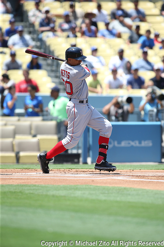 August 6, 2016 Los Angeles, CA: Boston Red Sox right fielder Mookie Betts #50 during an MLB game played at Dodger Stadium against the Los Angeles Dodgers.