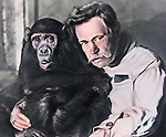 A famous tamer Vladimir Leonidovich Durov with monkey.
