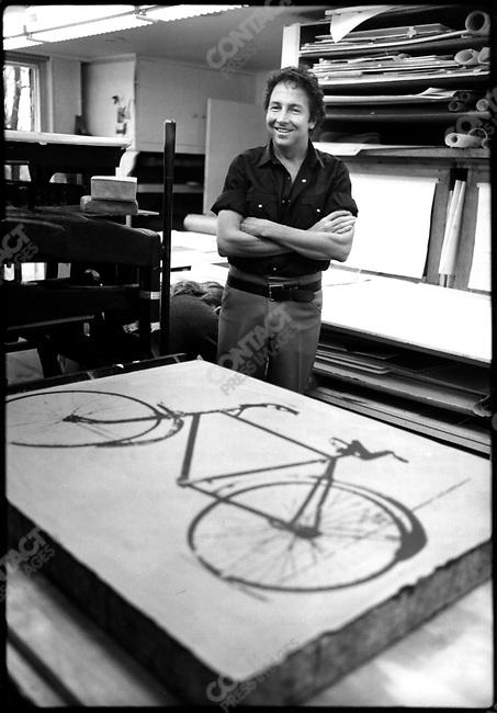 Robert Rauschenberg, artist, in the print studio of Tatyana Grosman, located near NYC, 1973