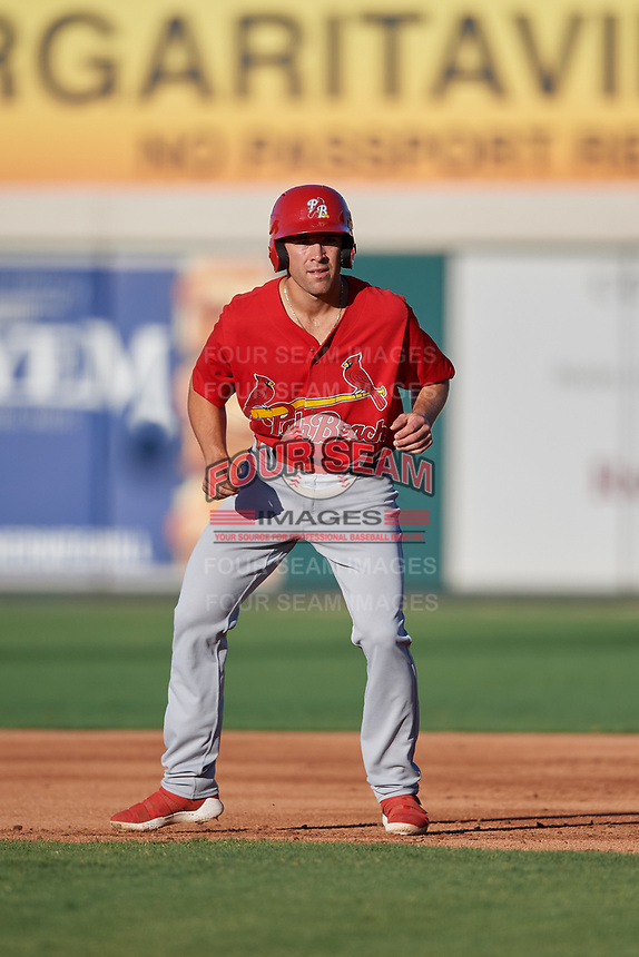 Palm Beach Cardinals Michael Perri (43) leads off first base during a Florida State League game against the Lakeland Flying Tigers on May 22, 2019 at Publix Field at Joker Marchant Stadium in Lakeland, Florida.  Palm Beach defeated Lakeland 8-1.  (Mike Janes/Four Seam Images)