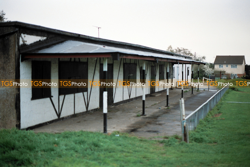 Covered area at Brentwood FC Football Ground, Larkins Playing Field, Ongar Road, Pilgrims Hatch, Brentwood, Essex, pictured on 10th March 1990