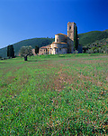 Abbazia di Sant'Antimo, a medieval abbey under the forested hills of the Val D'Orcia at Castelnuovo dell'Abate