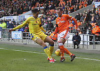 Blackpool's Harry Pritchard in action with Bristol Rovers' Daniel Leadbitter<br /> <br /> Photographer Mick Walker/CameraSport<br /> <br /> The EFL Sky Bet League One - Blackpool v Bristol Rovers - Saturday 3rd November 2018 - Bloomfield Road - Blackpool<br /> <br /> World Copyright &copy; 2018 CameraSport. All rights reserved. 43 Linden Ave. Countesthorpe. Leicester. England. LE8 5PG - Tel: +44 (0) 116 277 4147 - admin@camerasport.com - www.camerasport.com
