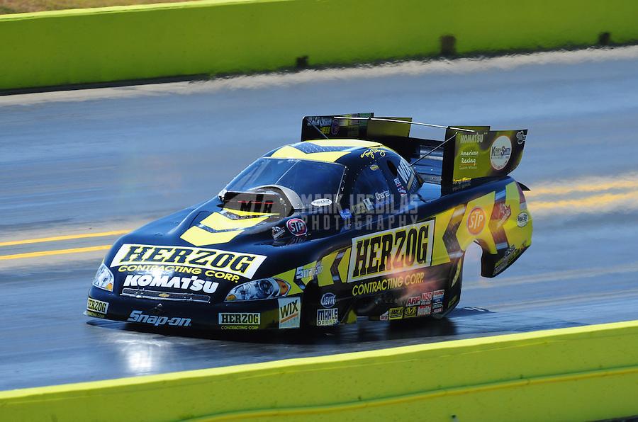 Sept. 24, 2011; Ennis, TX, USA: NHRA funny car driver Tony Pedregon during qualifying for the Fall Nationals at the Texas Motorplex. Mandatory Credit: Mark J. Rebilas-