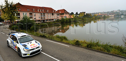 05.10.2014. Alsace Region, France. WRC Rally of France.  <br /> <br /> Andreas Mikkelsen (NOR)/Ola Floene (NOR)-Volkswagen Polo WRC