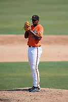 Baltimore Orioles pitcher Hector Guance (87) delivers a pitch during an Instructional League game against the Pittsburgh Pirates on September 27, 2017 at Ed Smith Stadium in Sarasota, Florida.  (Mike Janes/Four Seam Images)
