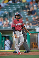 Abiatal Avelino (19) of the Sacramento River Cats walks to the dugout against the Salt Lake Bees at Smith's Ballpark on July 18, 2019 in Salt Lake City, Utah. The Bees defeated the River Cats 9-6. (Stephen Smith/Four Seam Images)