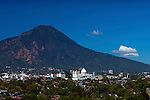 San Salvador, El Salvador with the San Salvador Volcano and the iconic El Picacho Peak rising above the city.