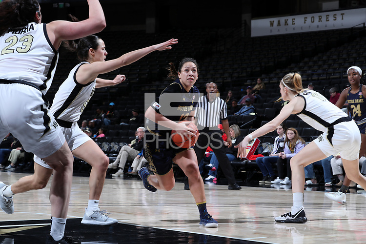 WINSTON-SALEM, NC - FEBRUARY 06: Marta Sniezek #13 of the University of Notre Dame drives the lane during a game between Notre Dame and Wake Forest at Lawrence Joel Veterans Memorial Coliseum on February 06, 2020 in Winston-Salem, North Carolina.
