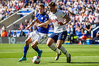 Jan Vertonghen is chased by Jamie Vardy during the Premier League match between Leicester City and Tottenham Hotspur at the King Power Stadium, Leicester, England on 21 September 2019. Photo by James  Gill / PRiME Media Images.