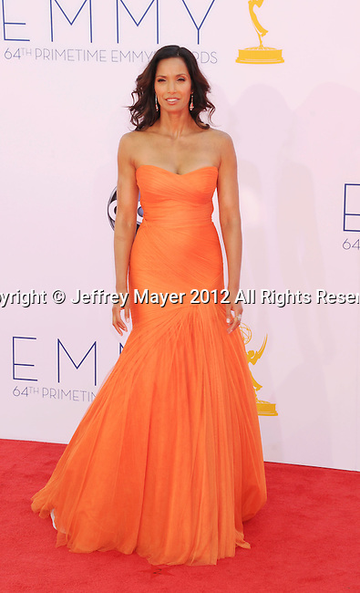 LOS ANGELES, CA - SEPTEMBER 23: Padma Lakshmi arrives at the 64th Primetime Emmy Awards at Nokia Theatre L.A. Live on September 23, 2012 in Los Angeles, California.