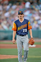 Las Vegas Aviators starting pitcher Parker Dunshee (29) walks to the dugout between innings against the Salt Lake Bees  at Smith's Ballpark on July 20, 2019 in Salt Lake City, Utah. The Aviators defeated the Bees 8-5. (Stephen Smith/Four Seam Images)
