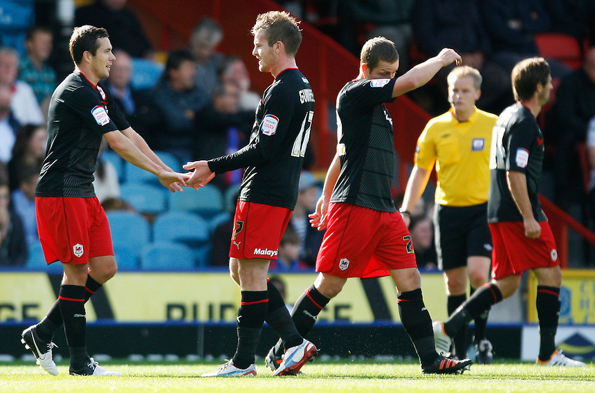 Don Cowie celebrates with Aron Gunnarsson (R) after scoring Cardiff's second goal..Football - npower Football League Championship - Saturday 22nd September 2012 - Crystal Palace v Cardiff City - Selhurst Park - London..?