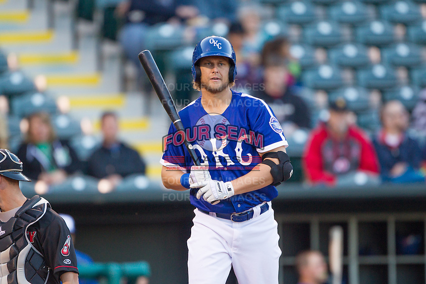 Oklahoma City Dodgers left fielder Kyle Jensen (22) steps to the plate against the Nashville Sounds at Chickasaw Bricktown Ballpark on April 15, 2015 in Oklahoma City, Oklahoma. Oklahoma City won 6-5. (William Purnell/Four Seam Images)