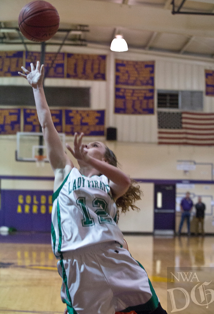 Greenland's Sarah Wright puts up a shot against Two Rivers during Saturday's 3A Regional final in Lavaca.