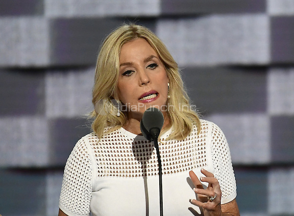 Lauren Manning who spent more than 6 months in the hospital after 9/11 recovering from severe burns, makes remarks during the second session of the 2016 Democratic National Convention at the Wells Fargo Center in Philadelphia, Pennsylvania on Tuesday, July 26, 2016.<br /> Credit: Ron Sachs / CNP/MediaPunch<br /> (RESTRICTION: NO New York or New Jersey Newspapers or newspapers within a 75 mile radius of New York City)